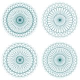Set of Green Vector Guilloche Rosettes Stock Images