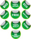 Set of green vector labels. For organic, natural, healthy, bio food on white Royalty Free Stock Image