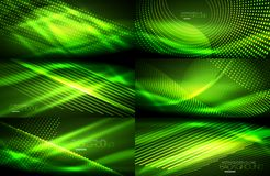 Set of neon smooth wave digital abstract backgrounds. Set of green vector neon smooth wave digital abstract backgrounds Stock Photo