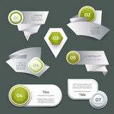 Set of green vector progress, version, step icons Stock Photos