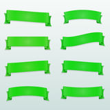 Set of green vector ribbons Stock Photos