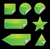 Set of green vector stickers Stock Photo