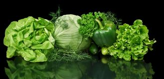 Set of green vege-cabbage,lettuce,bell pepper,dill on black  Royalty Free Stock Photos