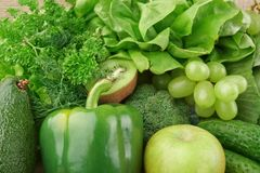 Set of green vegetables and fruits for detox Royalty Free Stock Photos