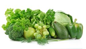 Set of green vegetables and fruits Stock Images