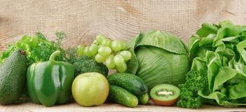 Set of green vegetables and fruits Royalty Free Stock Image