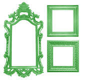 Set of green vintage frame isolated on white background Royalty Free Stock Photos