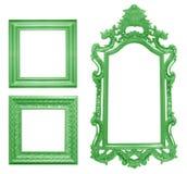 Set of green vintage frame isolated on white Stock Image