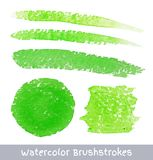 Set of Green Watercolor Brush Strokes Stock Image
