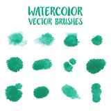 Set of green watercolor drop for brush Royalty Free Stock Image