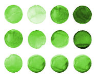 Set of green watercolor hand painted circle isolated on white. Illustration for artistic design. Round stains, blobs Stock Illustration