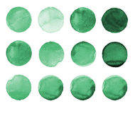 Set of green watercolor hand painted circle isolated on white. Illustration for artistic design. Round stains, blobs Royalty Free Stock Images