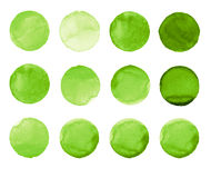 Set of green watercolor hand painted circle isolated on white. Illustration for artistic design. Round stains, blobs Stock Images
