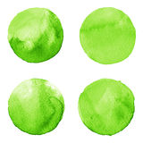 Set of green watercolor hand painted circle isolated on white. Illustration for artistic design. Round stains, blobs Stock Image