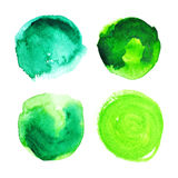 Set of green watercolour stains. Set of green watercolour stains on white. Eco sticker for banner, card, emblem, label, advertisement. Vector illustration stock illustration