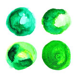 Set of green watercolour stains. Set of green watercolour stains on white. Eco sticker for banner, card, emblem, label, advertisement. Vector illustration vector illustration