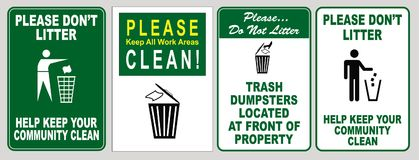 Set of illustrated signs for no littering. A set of green and white signs for no littering and reminders to throw away trash Stock Photo