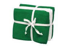Set of green and white towels isolated on white background. Close up, high resolution Stock Photography