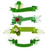 Set of green winter banners Stock Images