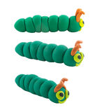 Set of green worm made from plasticine Royalty Free Stock Photo
