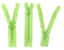 Set of green zipper Stock Photos