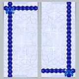 Set of greeting banners with blue bow. Stock Photo