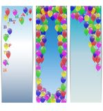 Set of greeting banners happy birthday with balloons. Royalty Free Stock Image