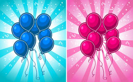 Blue and Pink Party Balloons Stock Image