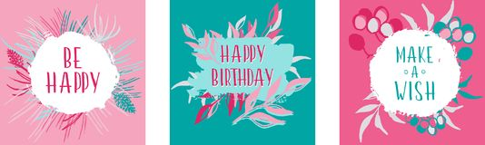 Set of 3 greeting card for congratulations on the birthday Royalty Free Stock Photos