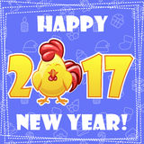 Set greeting card, Happy New Year-cartoon Rooster Royalty Free Stock Photos
