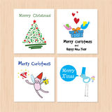 Set of greeting card: Merry Christmas and Happy New Year Creativ Royalty Free Stock Images