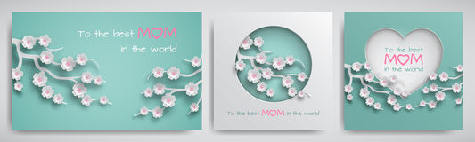 Set of greeting card for mother`s day with congratulations text. Cuted paper circle and heart decorated branch of cherry flowers. On green background, paper cut stock illustration