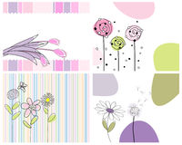 Set of greeting cards. Set of four vector greeting cards for design use stock illustration