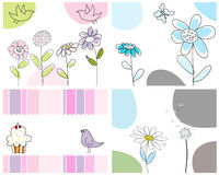 Set of greeting cards. Set of four vector greeting cards for design use vector illustration