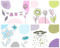 Set of greeting cards. Set of four vector greeting cards for design use royalty free illustration
