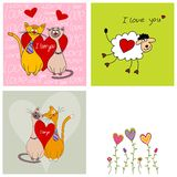 Set of greeting cards. Colorful graphic illustrations. Greeting cards Stock Photography