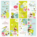 Set of greeting cards Stock Photos