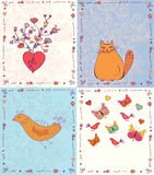 Set of greeting cards with animals Stock Images