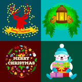 Set of greeting cards and banners Merry Christmas and a Happy New Year with Christmas decorations and gifts. Lantern in Stock Photography