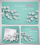 Set of greeting cards or banners for mother`s day. Sheet of paper with congratulation text, backgrounds decorated paper flowers. Set of green greeting cards or vector illustration