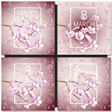 Set of greeting cards with a blossom sakura for your design Stock Image
