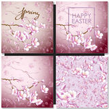 Set of greeting cards with a blossom sakura for your design Stock Photos