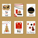 Set of greeting cards. Congratulations on Christmas and New Year Stock Photography
