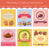 Set of greeting cards cupcakes Stock Photos