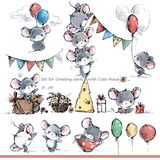 Set for greeting cards with cute mice. Funny cartoon mouse. Cute domestic animal watercolor illustration royalty free illustration