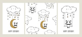Set of Greeting cards with cute pandas on the moon and swing and seamless pattern. Happy Birthday. Set of Greeting cards with cute pandas on the moon and swing Royalty Free Stock Images