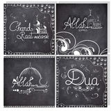 Set of greeting cards for Eid festival celebrations. Stock Images