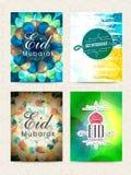 Set of greeting cards for Eid Mubarak celebration. Stock Image