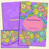 Set of greeting cards and envelope in the luxurious style of the childre Stock Images