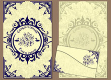 Set of greeting cards and envelope in a luxurious vintage style Royalty Free Stock Image